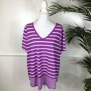 Lane Bryant Purple Striped Top Womens Plus 22/24